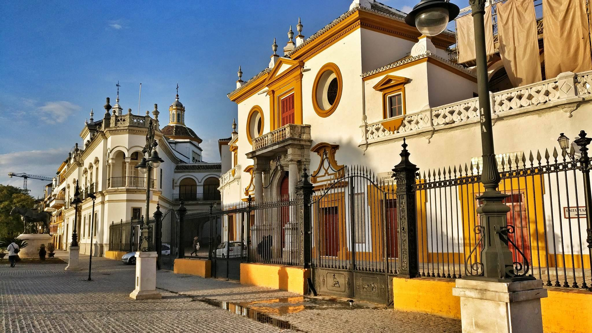 Front view of the La Real Maestranza in Sevilla, Spain in the setting sun