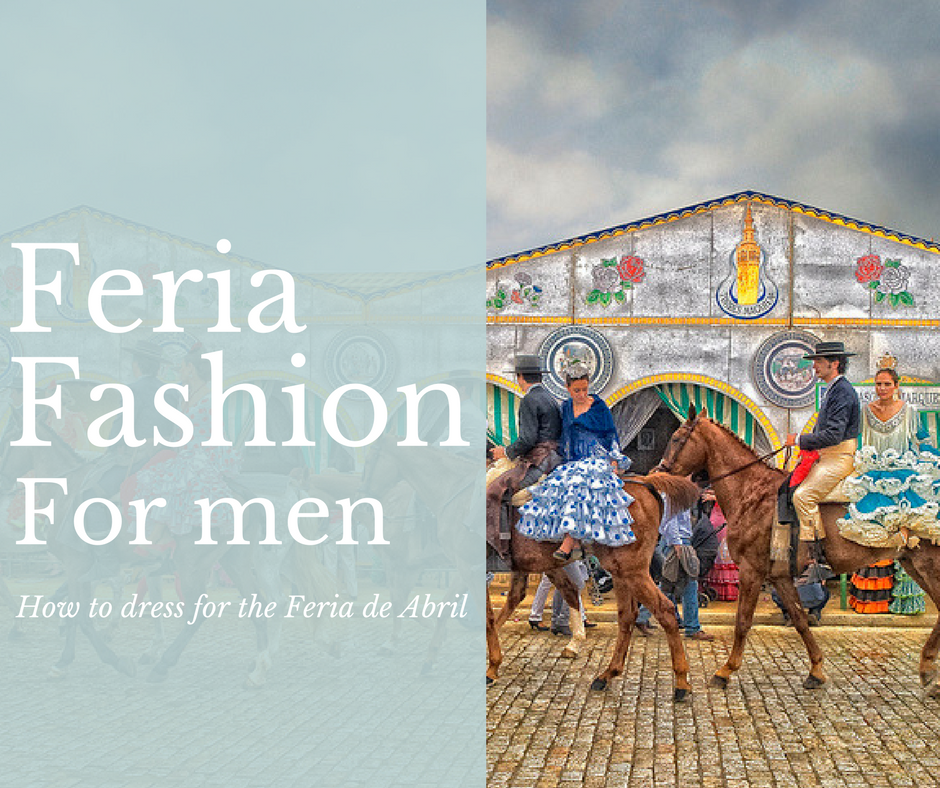 Feria Fashion for Men - banner: traje de corto wearing horse riders with girls with flamenco dresses on the back of their horses