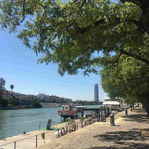 rivier Sevilla met uitzicht op de torre Sevilla
